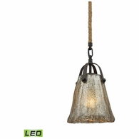 10631/1-LED ELK Lighting Hand Formed Glass 1-Light Mini Pendant in Oiled Bronze with Mercury Glass - Includes LED Bulb