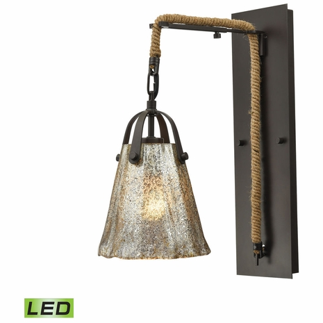 10631/1SCN-LED ELK Lighting Hand Formed Glass 1-Light Wall Lamp in Oiled Bronze with Mercury Glass - Includes LED Bulb