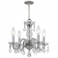 1064-CH-CL-S Crystorama Traditional Crystal 4 Light Clear Swarovski Strass Crystal Chrome Mini Chandelier