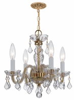1064-PB-CL-S Crystorama Traditional Crystal 4 Light Clear Swarovski Strass Crystal Brass Mini Chandelier