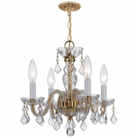 1064-PB-CL-SAQ Crystorama Traditional Crystal 4 Light Clear Spectra Crystal Brass Mini Chandelier