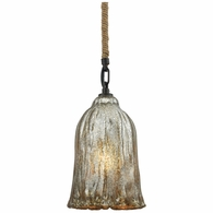 10641/1 ELK Lighting Hand Formed Glass 1-Light Mini Pendant in Oiled Bronze with Mercury Glass