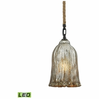 10641/1-LED ELK Lighting Hand Formed Glass 1-Light Mini Pendant in Oiled Bronze with Mercury Glass - Includes LED Bulb