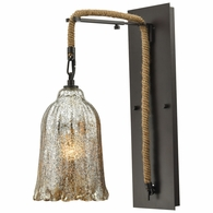 10641/1SCN ELK Lighting Hand Formed Glass 1-Light Wall Lamp in Oiled Bronze with Mercury Glass