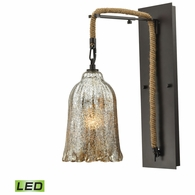 10641/1SCN-LED ELK Lighting Hand Formed Glass 1-Light Wall Lamp in Oiled Bronze with Mercury Glass - Includes LED Bulb