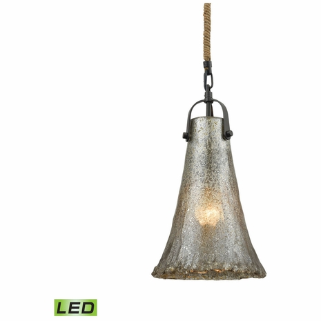 10651/1-LED ELK Lighting Hand Formed Glass 1-Light Mini Pendant in Oiled Bronze with Mercury Glass - Includes LED Bulb