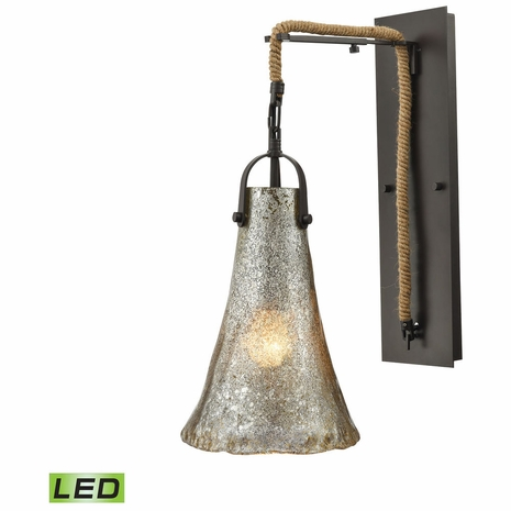 10651/1SCN-LED ELK Lighting Hand Formed Glass 1-Light Wall Lamp in Oiled Bronze with Mercury Glass - Includes LED Bulb