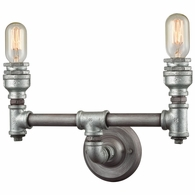 10683/2 ELK Lighting Cast Iron Pipe 2-Light Vanity Lamp in Weathered Zinc (Optional Shades Available)