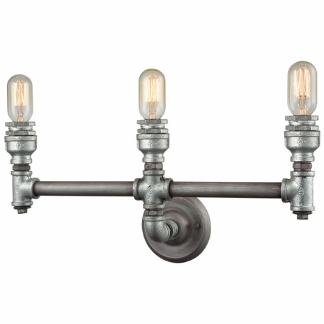 10684/3 ELK Lighting Cast Iron Pipe 3-Light Vanity Lamp in Weathered Zinc (Optional Shades Available)