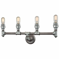10685/4 ELK Lighting Cast Iron Pipe 4-Light Vanity Lamp in Weathered Zinc (Optional Shades Available)
