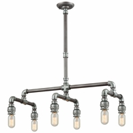 10691/6 ELK Lighting Cast Iron Pipe 6-Light Chandelier in Weathered Zinc (Optional Shades Available)