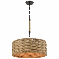 10711/3 ELK Lighting Weaverton 3-Light Chandelier in Oiled Bronze with Natural Rope-wrapped Shade