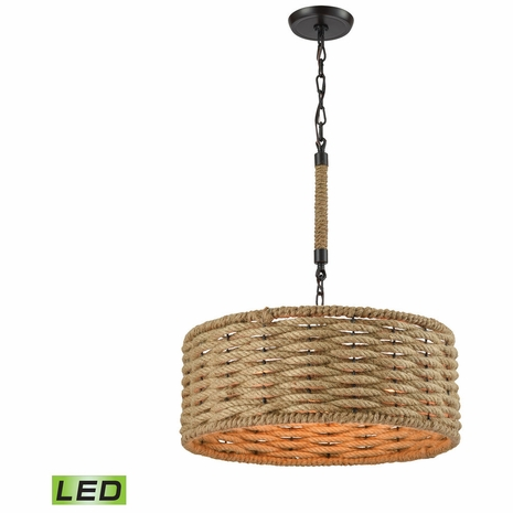 10711/3-LED ELK Lighting Weaverton 3-Light Chandelier in Oiled Bronze with Natural Rope-wrapped Shade - Includes LED Bulbs