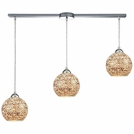 10731/3L ELK Lighting Crosshatch 3-Light Linear Mini Pendant Fixture in Polished Chrome with Painted Mosaic Glass