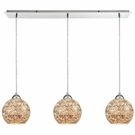 10731/3LP ELK Lighting Crosshatch 3-Light Linear Mini Pendant Fixture in Polished Chrome with Painted Mosaic Glass