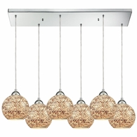 10731/6RC ELK Lighting Crosshatch 6-Light Rectangular Pendant Fixture in Polished Chrome with Painted Mosaic Glass