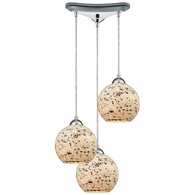 10741/3 ELK Lighting Spatter 3-Light Triangular Pendant Fixture in Polished Chrome with Spatter Mosaic Glass