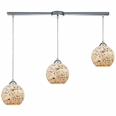 10741/3L ELK Lighting Spatter 3-Light Linear Mini Pendant Fixture in Polished Chrome with Spatter Mosaic Glass