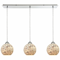 10741/3LP ELK Lighting Spatter 3-Light Linear Mini Pendant Fixture in Polished Chrome with Spatter Mosaic Glass