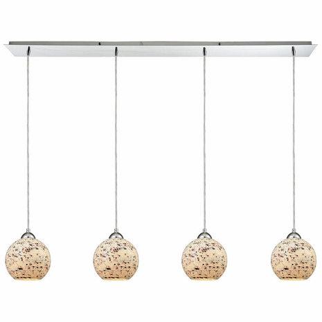 10741/4LP ELK Lighting Spatter 4-Light Linear Pendant Fixture in Polished Chrome with Spatter Mosaic Glass