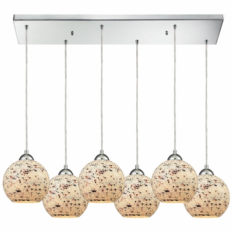 10741/6RC ELK Lighting Spatter 6-Light Rectangular Pendant Fixture in Polished Chrome with Spatter Mosaic Glass