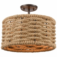 10756/2 ELK Lighting Weaverton 2-Light Semi Flush Mount in Oil Rubbed Bronze with Rope