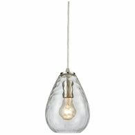 10760/1 ELK Lighting Lagoon 1-Light Mini Pendant in Satin Nickel with Clear Water Glass
