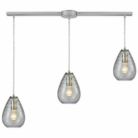 10760/3L ELK Lighting Lagoon 3-Light Linear Mini Pendant Fixture in Satin Nickel with Clear Water Glass