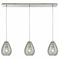 10760/3LP ELK Lighting Lagoon 3-Light Linear Mini Pendant Fixture in Satin Nickel with Clear Water Glass