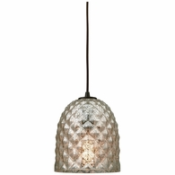 10765/1 ELK Lighting Brimley 1-Light Mini Pendant in Oil Rubbed Bronze with Diamond-textured Mercury Glass