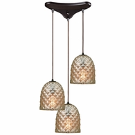10765/3 ELK Lighting Brimley 3-Light Triangular Pendant Fixture in Oil Rubbed Bronze with Diamond-textured Mercury Glass