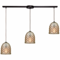 10765/3L ELK Lighting Brimley 3-Light Linear Mini Pendant Fixture in Oil Rubbed Bronze with Diamond-textured Mercury Glass