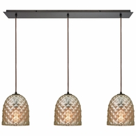 10765/3LP ELK Lighting Brimley 3-Light Linear Mini Pendant Fixture in Oil Rubbed Bronze with Diamond-textured Mercury Glass