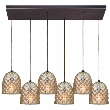 10765/6RC ELK Lighting Brimley 6-Light Rectangular Pendant Fixture in Oil Rubbed Bronze with Diamond-textured Mercury Glass