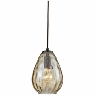 10780/1 ELK Lighting Lagoon 1-Light Mini Pendant in Oil Rubbed Bronze with Champagne-plated Water Glass