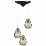 10780/3 ELK Lighting Lagoon 3-Light Triangular Pendant Fixture in Oil Rubbed Bronze with Champagne-plated Water Glass