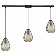 10780/3L ELK Lighting Lagoon 3-Light Linear Mini Pendant Fixture in Oil Rubbed Bronze with Champagne-plated Water Glass