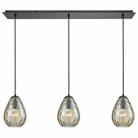 10780/3LP ELK Lighting Lagoon 3-Light Linear Mini Pendant Fixture in Oil Rubbed Bronze with Champagne-plated Water Glass