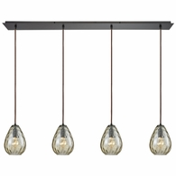 10780/4LP ELK Lighting Lagoon 4-Light Linear Pendant Fixture in Oil Rubbed Bronze with Champagne-plated Water Glass