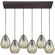 10780/6RC ELK Lighting Lagoon 6-Light Rectangular Pendant Fixture in Oil Rubbed Bronze with Champagne-plated Water Glass