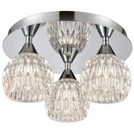 10823/3 ELK Lighting Kersey 3-Light Semi Flush Mount in Polished Chrome with Clear Crystal
