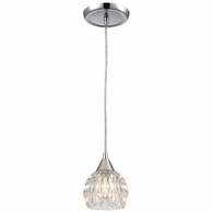 10824/1 ELK Lighting Kersey 1-Light Mini Pendant in Polished Chrome with Clear Crystal