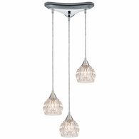 10824/3 ELK Lighting Kersey 3-Light Triangular Mini Pendant Fixture in Polished Chrome with Clear Crystal