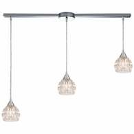 10824/3L ELK Lighting Kersey 3-Light Linear Mini Pendant Fixture in Polished Chrome with Clear Crystal
