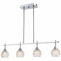 10825/4 ELK Lighting Kersey 4-Light Island Light in Polished Chrome with Clear Crystal