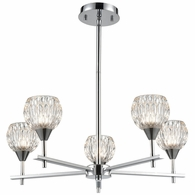 10828/5 ELK Lighting Kersey 5-Light Chandelier in Polished Chrome with Clear Crystal