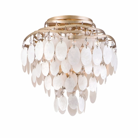 109-33 Corbett Dolce 3Lt Semi Flush with Champagne Leaf Finish