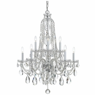 1110-CH-CL-MWP Crystorama Traditional Crystal 10 Light Clear Crystal Chrome Chandelier