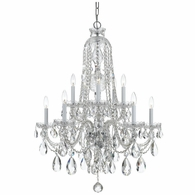 1110-CH-CL-S Crystorama Traditional Crystal 10 Light Clear Swarovski Strass Crystal Chrome Chandelier
