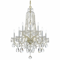 1110-PB-CL-MWP Crystorama Traditional Crystal 10 Light Clear Crystal Brass Chandelier